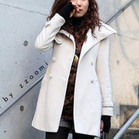 Magazine Fashion Lapel Warm Winter Coats White : Wholesaleclothing4u.com