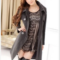 Wholesale Asian Fashion Fur Accessories Belted Button Coat