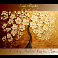 Original, Landscape painting,  Magnolia Floral gallery canvas Modern Abstract  36&quot; palette knife  foil painting by Nicolette Vaughan Horner