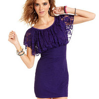 Sugar & Spice Juniors Dress, Short Sleeve Lace Empire-Waist Sheath - Juniors Dresses - Macy's