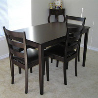 Customer Image Gallery for 5pc Dining Table, Chairs & Bench Set Cappuccino Finish