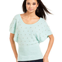 Baby Phat Juniors Sweater, Short Batwing Sleeve Rhinestone Angora-Blend - Juniors Shop All - Macy's