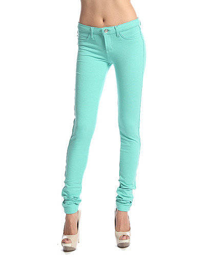 MOGAN Candy Colored Stretch COZY SKINNY PANTS Knit Jeggings Zipper Leggings S~XL