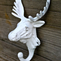 Moose Head Wall Hook: PICK your Color /Lodge Decor, Metal Cabin Decor, Key Hook, Shabby Chic