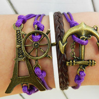 Unisex Simple fashion ancient bronze anchor ,rudder and Eiffel Tower leather bracelet--purple-brown and white wax rope braided bracelet
