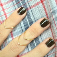 Knuckle Ring Chevron Arrow Joint Ring Gold Brass Wire Wrap Stackable Bohemian Hippie Eclectic Statement Jewelry Adjustable