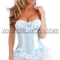 Cheap Strapless Corset Bustier Dress With Tutu Skirt Light Blue