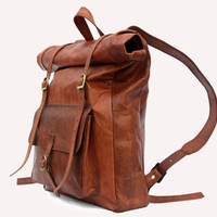 Leather Roll Top Backpack / Rucksack (Light Brown) - Vintage Retro Looking