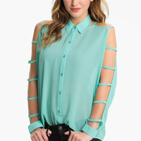 Lush Ladder Sleeve Shirt (Juniors) | Nordstrom
