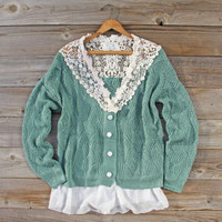 Sleepy December Sweater in Mint, Sweet Bohemian Sweaters