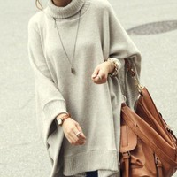 Along the Boulevard Oversized Cream Cape Soho Chic Sweater 24-76 OS