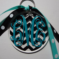 Monogrammed Acrylic Keychain with Chevron Print Background