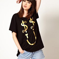 Lazy Oaf Exclusive Dollar Smile Oversized T-Shirt at asos.com