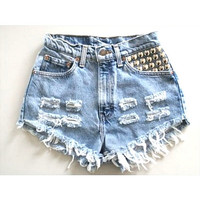 ANY COLOR Ripped Frayed Denim High-Waisted Shorts