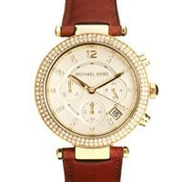 Michael Kors Brown Leather Strap Chronograph Watch at asos.com