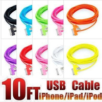 Colorful 10ft 3m Extra Long Bling USB Charger Cable for iphone 3 3G 4 4s iPad iPod iTouch USB cable