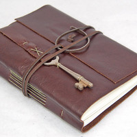 Brown Leather Journal with Skeleton Key Bookmark