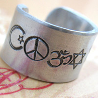 "Custom Hand Stamped Ring - Up to 25 Characters - Wide 1/2"" Aluminum, Adjustable -  Personalized Just for You"