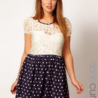 ASOS CURVE Skater Dress With Lace Top And Spot Skirt at asos.com