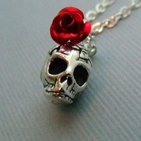 Rose Skull Necklace by pinkingedgedesigns on Etsy