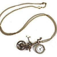 Vintage Brass Tone Bicycle&amp;Pocket Watch Long Chain Pendant Necklace