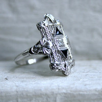 RESERVED - Vintage Fancy Filigree 14K White Gold Diamond and Sapphire Ring.