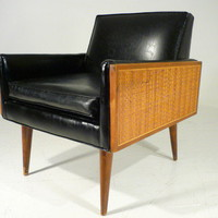 Vintage 60&#x27;s Mid Century Modern Cane Panel Lounge Armchair Baughman Era