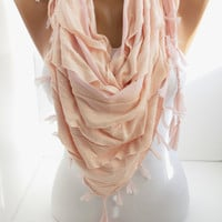 New- Gift- Salmon and Light Pink Triangle Shawl Scarf