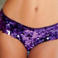 Purple S/M Mirror Sequin Shorts Boyshorts Spankies Dance Bottom Brief