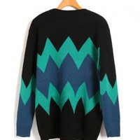Longline Color Block Sweaters with Wave Stripe Detail