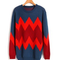 Loose Longline Color Block Sweaters with Red Wave Stripe Detail