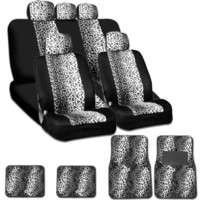 New and Unique YupbizAuto Brand Safari Snow Leopard Print Universal Size Car Truck SUV Seat Covers a