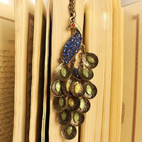 Jevina's Vintage Blue Rhinestone Peacock Long Chain Pendent Necklace at online vintage jewelry store Gofavor
