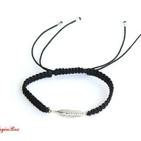 Black Macrame Leaf Bracelet with White Swarovski Crystals
