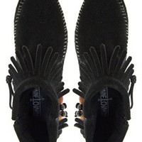 Minnetonka Concho Feather Side Zip Black Ankle Boots at asos.com