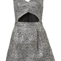 Brocade Cut Out Dress - Dresses  - Clothing