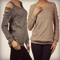 Slash Sleeve Top Comfy Sweat Shirt Pretty Open Cut Out Ripped Sides Fashion