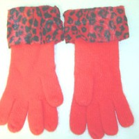 G1018r, Red Angora Gloves with Black Red Tiger Paw Print Fur Cuff for Women.