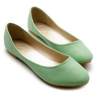 Ollio Womens Ballet Flats Loafers Basic Light Comfort Low Heels Green Shoes