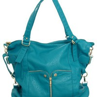 Turquoise Large ''Waverly'' Cross-body Convertible Tote