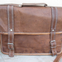 leather satchel messenger bag 14 inch leather laptop bag shoulder bag college school bag retro look