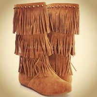 Fringe Boots Indian Moccasin Vegan Suede 3 Tier Brown Tan Black Fashion Trend