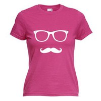 Fruit Of The Loom Women&#x27;s Summer Moustache T-Shirt (Pink)