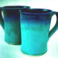 Ceramic Latte Mug - READY TO SHIP- Turquoise and Cobalt Blue Pottery - Set of 2