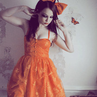 Lace Corset Dress in Orange by Flutterbydaisy on Etsy