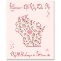 Art Print Hearts and Flowers Wisconsin My Heart Belongs 10x8 Pink or White