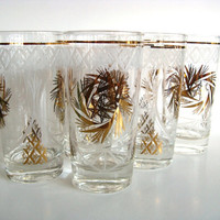 Vintage Tall Glasses Set of Six 6 Dominion Gold by pillowsophi