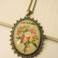 Hot Fashion retro Vintage flower pendant Alloy necklace chain for christmas gift