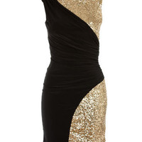 Black/Gold Ruched Sequin Bodycon Dress - Clothing - desireclothing.co.uk