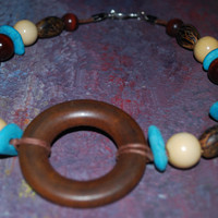 Brown and Turquoise Mixed Media OOAK Choker , Wooden Boho inspired Necklace